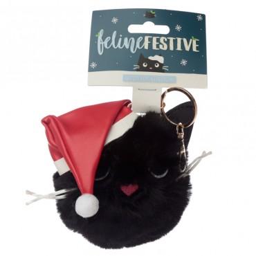 Fun Collectable Pom Pom Keyring - Christmas Festive Feline