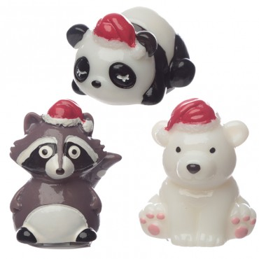 Lip Balm - Christmas Panda, Bear and Raccoon