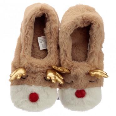Christmas Reindeer Microwavable Heat Wheat Pack Slippers
