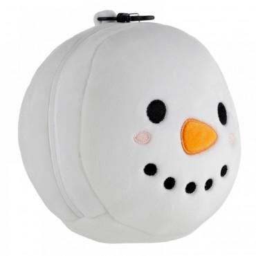 Christmas Snowman Relaxeazzz Plush Round Travel Pillow & Eye Mask Set