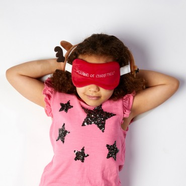 Christmas Reindeer Relaxeazzz Plush Round Travel Pillow & Eye Mask Set