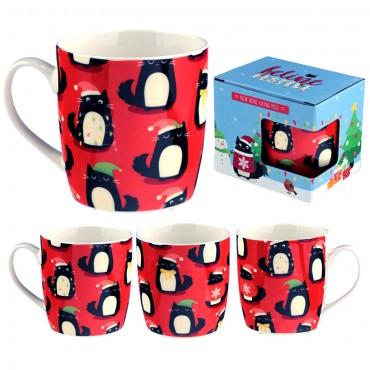 Christmas Porcelain Mug - Feline Festive Cat