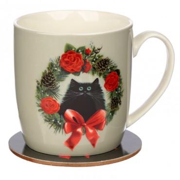 Christmas Porcelain Mug & Coaster Set - Kim Haskins Christmas Wreath Cat