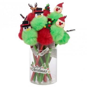 Fun Christmas Pom Pom Pencil with Topper