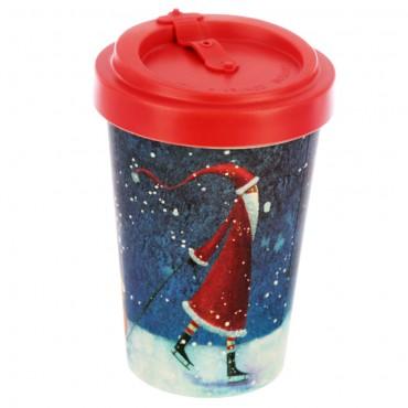 Bamboo Composite Jan Pashley Christmas Santa Screw Top Travel Mug