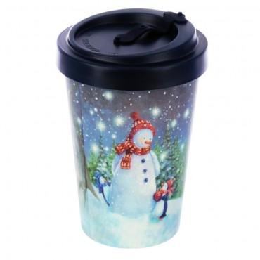 Bamboo Composite Jan Pashley Christmas Snowman Screw Top Travel Mug