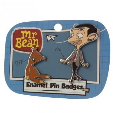 Mr Bean and Teddy Enamel Pin Badge Set of 2