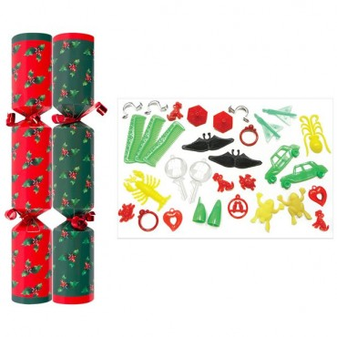 "10"" Holly Christmas Crackers (50pk)"
