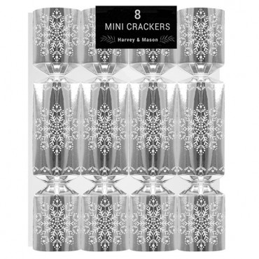 "8 x 5.5"" Mini Silver Christmas Crackers with Xmas Themed Charms (8pk)"