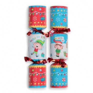 Festive Elves Mini Christmas Crackers - 15cm (6pk)
