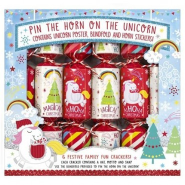 Pin The Horn On The Unicorn Christmas Crackers - 23cm (6pk)