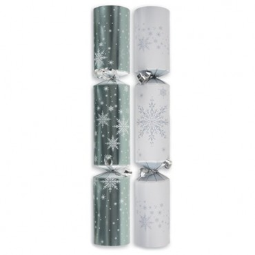 Silver and White Christmas Crackers - 30cm (10pk)