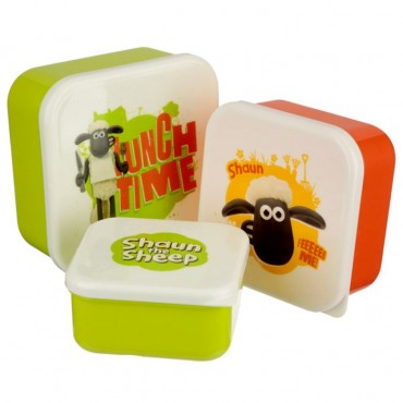 Shaun The Sheep Set of 3 Lunch Box Snack Pots S/M/L