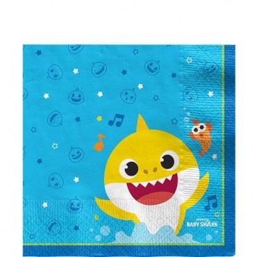 Baby Shark Napkins 33cm (16pk) 512527