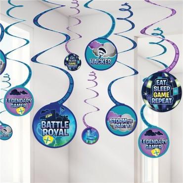 Battle Royal Hanging Swirl Decorations (12pk) 6702412