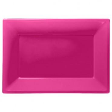 Hot Pink Serving Platters - 23cm x 32cm Plastic 997425