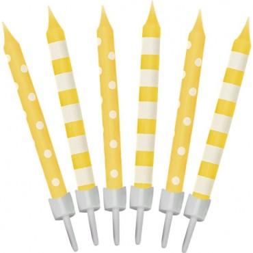 Yellow Dots & Stripe Candle (12pk) 9902301
