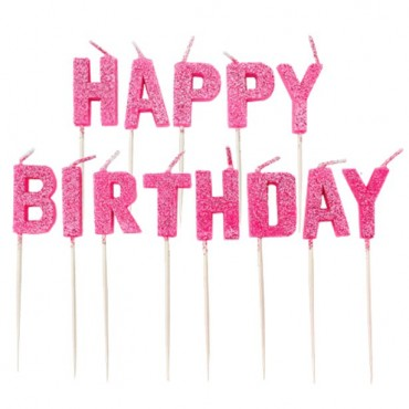 Pink Glitter 'Happy Birthday' Pick Candle 9902308