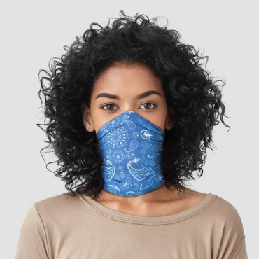 Blue Patterned Neck Scarf Face Covering
