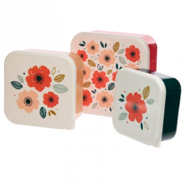Poppy Fields 3pc Lunch Boxes - Bamboo Composite