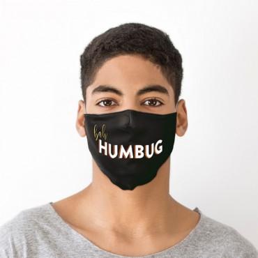 Bah Humbug Black Christmas Face Covering - Large