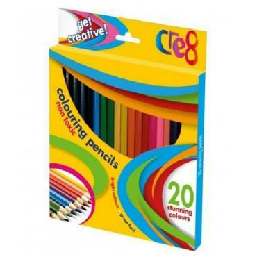 CRE8 Kids Large Colouring Pencils 20pcs - Sharpened